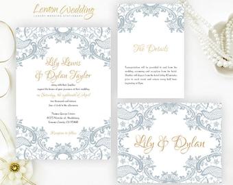 Dusty blue wedding Invitations printed white shimmer cardstock | Cheap wedding invitation set | Personalized wedding invitations