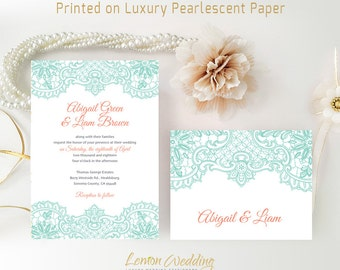 Lace Wedding Invitations printed on shimmer cardstock | Mint and coral wedding invitation with RSVP postcard