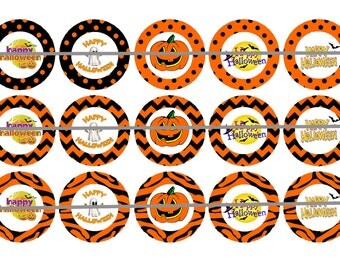 HAPPY HALLOWEEN Bottle Cap Images Instant Download Digital Printable Images Instant Download Bottlecap 1 Inch Circle