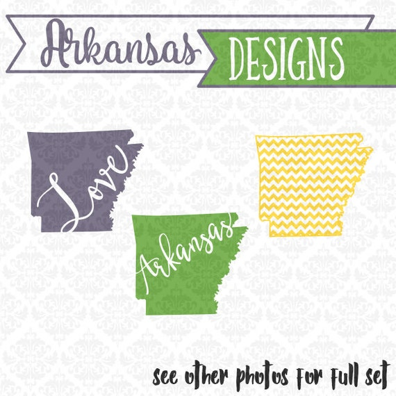 Arkansas Monogram Chevron Outline State SVG DXF STUDIO Ai Eps Scalable Vector Instant Download Commercial Use Cutting FIle Cricut Silhouette