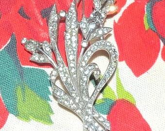 "Vintage Crown Trifari Brooch  Floral and Ribbon Brooch marked Trifari w crown Des Pat No. 129319   3 7/8"""