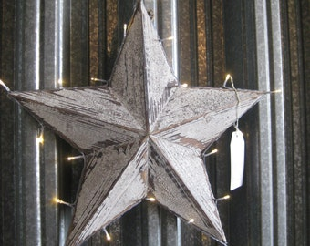 White or Blue Amish Barn Style Christmas Star with LED Lights