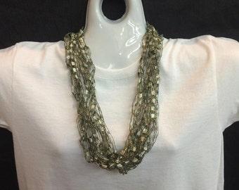 Platinum crocheted ribbon necklace #74