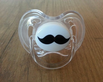 FREE SHIPPING| Mustache Pacifier Decal | Mustache Paci Decal | Baby Shower Gift | Personalized Baby Boy Gift