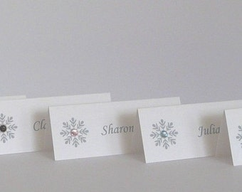 50 Personalised Snowflake Place Name Cards for Weddings/Dinner Parties/Christmas etc