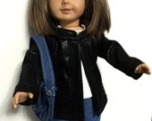 18 inch doll clothes American Girl Doll Clothes 4 piece doll outfit faux leather hooded jacket white t-shirt denim pants and denim purse