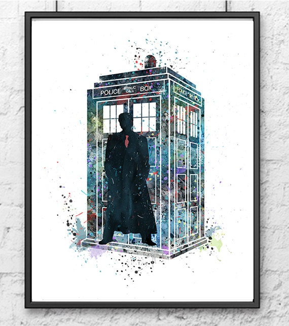 Tardis doctor who watercolor dr who art movie by for Decoration porte tardis