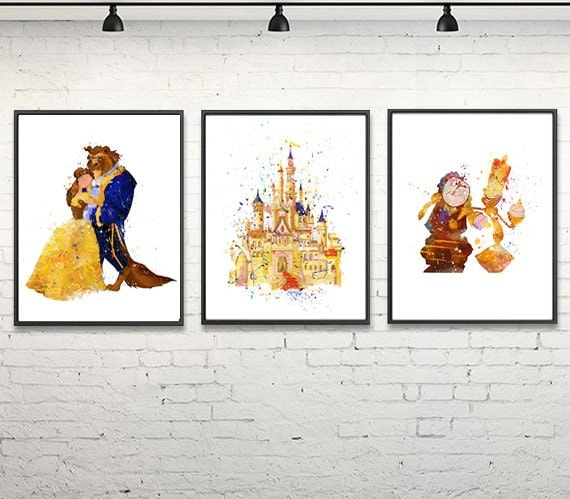 Beauty And The Beast Watercolor Print Disney Art By