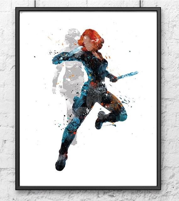 Avengers Watercolor: Black Widow Watercolor Print Avengers Art Marvel By