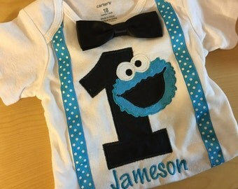 Personalized Cookie Monster 1st Happy Birthday age embroidered name birthday shirt boy / girl / baby applique birthday shirt sizes 6mos- 7/8