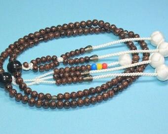 Buddhist wooden prayer beads, Nam myoho renge kyo Japanese onenju, smoky quartz oyadama, SGI