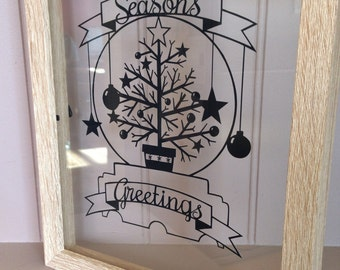 Snow Globe Christmas Tree template for paper cutting - Personal And Commercial Use