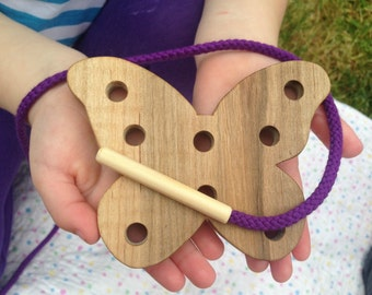 Wood Butterfly Toy - Wooden Lacing Card - Childrens Toys - Gifts for Kids - Montessori Materials - Kids Learning - Easter Basket Gift