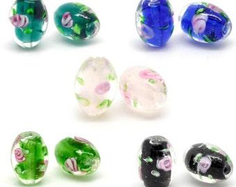 50 Mixed Flower Glass Lampwork Beads 14x10mm