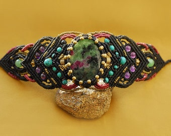 SURRENDER. Macrame bracelet with Ruby Zoisite, Turquoise, Amethyst, Venturine and brass details.