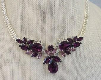 Amethyst Swarovski Crystal Teardop Statement Necklace, Crystal Necklace, wedding necklace, bridal necklace, purple necklace, bib necklace
