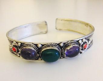 Beautiful hand crafted inlay stone cuff bracelet, bohemian jewelry, boho cuff, ethnic tribal cuff bracelet