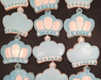 Baby boy or girl crown cookies