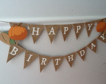 Fall Happy Birthday Burlap Banner