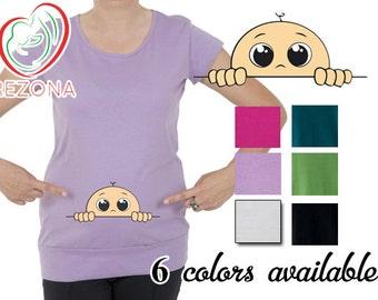 Peek A Boo Guck-Guck Mutterschaft Maternity T-Shirt, Pregnancy tshirt - REZONA Maternity Wear, Gift, Funny, Cute, S,M,L,XL,XXL,  baby shower