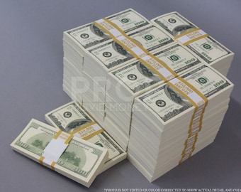 Prop Money Series 2000s 500,000 Full Print Stack for Movie, TV, Videos Novelty