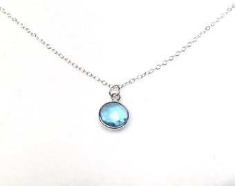 True Blue 925 Sterling Silver Swiss Blue Topaz Quartz Necklace by How I Wonder