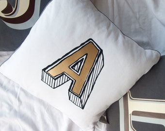 Personalised Alphabet Cushions. Initial letter Monogram decorative pillow in Gray or White Cotton. Font choice. Includes Pillow inner!