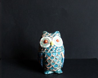 Pink and turquoise ceramic OWL