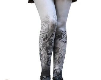 Alice in Wonderland Gothic Tights Halloween Alice Spooky Lolita tights