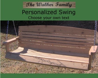 New Personalized 6 Foot Cedar Wood American Porch Swing - Choice of Name/Phrase Woodburned On Swing - Hanging Rope - Free Shipping