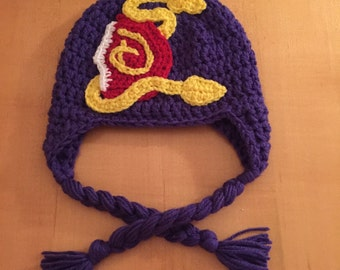 Inspired by Disney Descendants hat.  All sizes newborn to adult