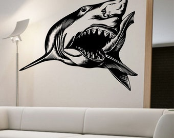 Great White Shark Wall Decal Sticker Art Decor Bedroom Design Mural interior design family home decor art ocean sea animal