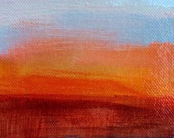 Sunset Landscape Painting . Original Art  . 4 in x 6 in