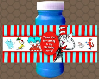 Dr Seuss 1st First Birthday Bubble Labels Wrappers Stickers Printable Uprint Digital DIY Instant Download