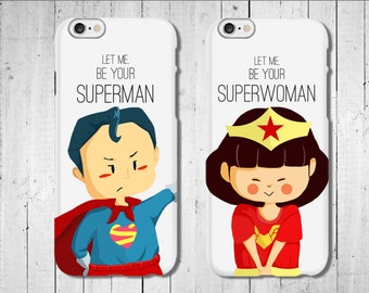Superman Superwoman couple iPhone case gift for Valentine gift for grilfriend gift for boyfriend matching iphone case