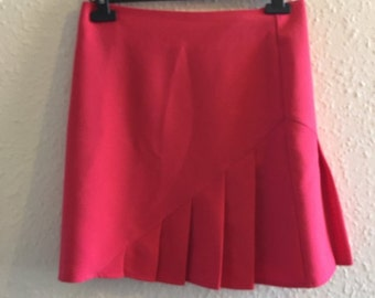 Retro Hot Pink Semi Pleated Mini Skirt