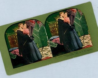 Romantic Color Stereoscope Card – Embracing Couple, Love's Token, Ingersoll 1898