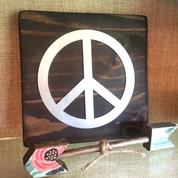 Peace Sign Wall Decor Metal : Peace sign metal wall art hippie decor wood by