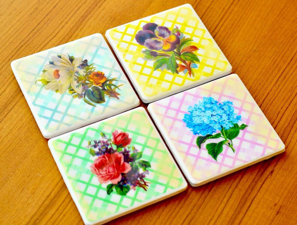 Vintage Floral Print Coasters Cute Coasters Gifts For Her