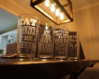 Etched Glass Christmas Tumbler Set of 4