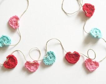 Heart crochet garland