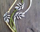 Leaf Wish Bracelet, Leaf Charm Bracelet, Wish Charm, Simple Bracelet, Vine Charm, Garden Jewelry, Friendship Jewelry