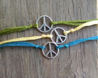 Peace Sign Wish Bracelet, Peace Sign Charm Bracelet, Wish Charm, Simple Bracelet, Peace Charm, Peace Jewelry