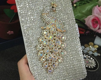 Fashion Slot Cards Holder Flip Wallet Leather Bling Lovely Luxury AB Peacock Silver Gems Crystal Rhinestones Diamonds Case for Mobile Phones