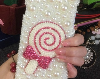 New 3D Pink Lollipop Bling Girly Sparkles Crystals Gems Rhinestones Diamonds Charms Lovely Pearls Fashion Hard Cover Case for Mobile Phones