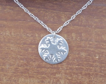 Snowflake necklace, silver necklace, silver metal clay, rustic necklace, simple silver necklace, silver snowflake necklace