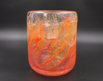 Large Orange Glass Vessel, Hand Blown Glass Vase, Orange Bowl, Decorative Bowl with Large Bubbles, Art Glass Bowl