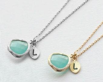 Personalized Bridesmaids Necklace, Mint Green Stone Necklace, Initial Necklace, Anniversary Necklace NB772