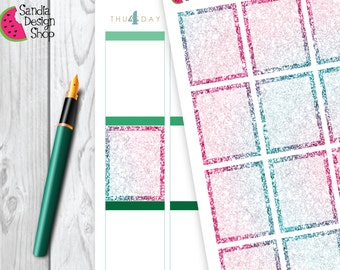 Glitter Effect Full Boxes Stickers, Planner Stickers, for Erin Condren Planner.
