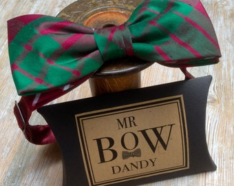 Dapper Bow Tie  Scottish Tartan ' Ancient Crawford' ,100% silk with satin adjustable neck fitting available in over 50 colours and patterns